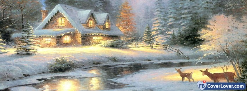 Cute Snowy House In Winter Seasonal Facebook Cover Maker Fbcoverlover Com