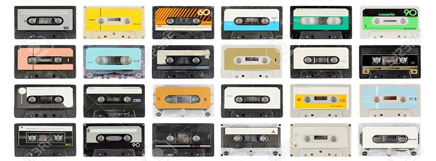 A Large Collection Of Retro Cassette Tapes