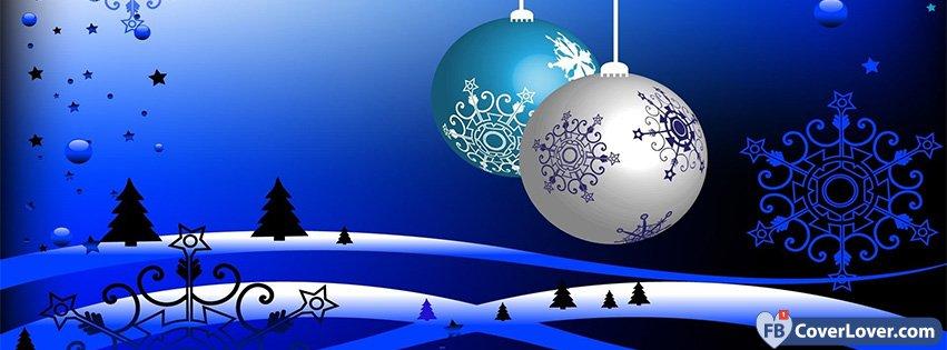 Blue Christmas Ornaments Seasonal Facebook Cover Maker