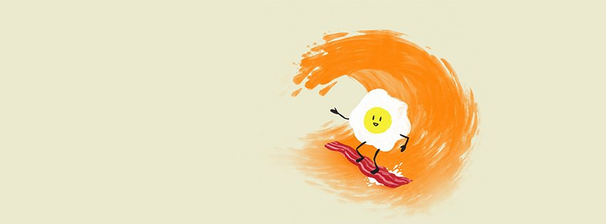 Eggs Waves Orange Surfing Bacon