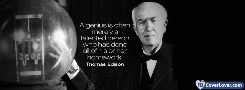 Thomas Edison Quotes | Genius Thomas Edison Quote Quotes And Sayings Facebook Cover Maker