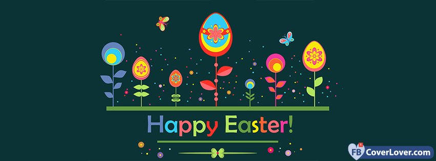 Happy Easter Flowers Eggs