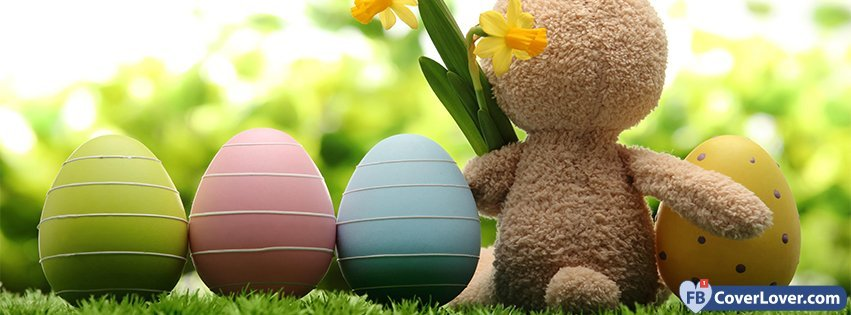 Happy Easters Cute Buny And Eggs