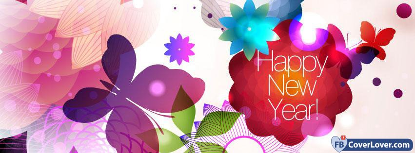 happy new year abstract flowers holidays and celebrations facebook cover maker fbcoverlovercom