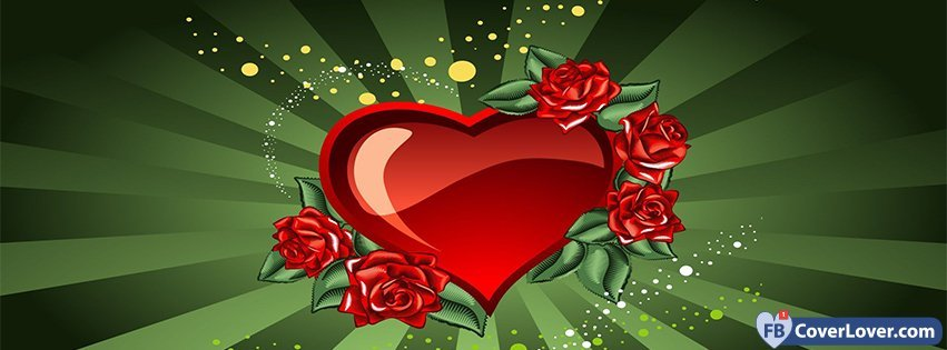 Happy Valentive Read Heart And Roses