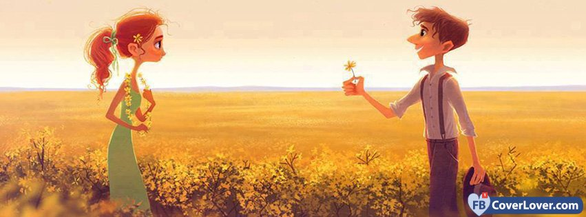 Love Cute Couple Man Offering A Flower