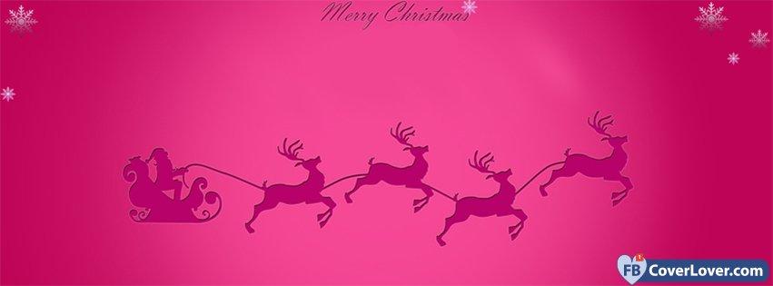 Merry Christmas Pink Reindeer Santa
