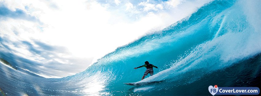 Surfer Riding Big Wave
