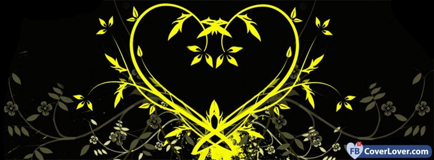 Yellow Flowers Heart Hearts Facebook Cover Maker Fbcoverlover