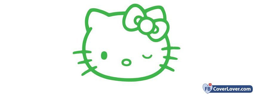Green Hello Kitty Funny And Cool Facebook Cover Maker Fbcoverlover