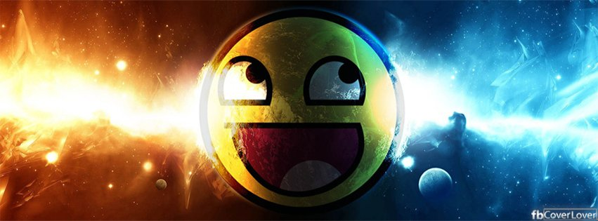 lol smiley face in space facebook cover maker fbcoverlover com