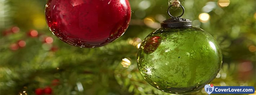 Red Green Mercury Glass Ball Ornaments Set Of
