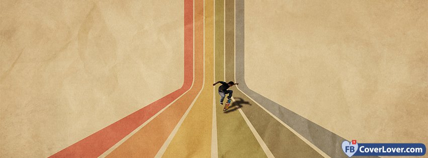 Vintage Retro Striped Skateboard