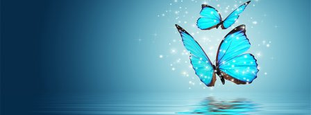 Abstract Artistic Blue Butterfly  Facebook Covers
