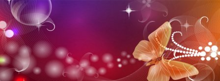 Abstract Artistic Pink Butterfly  Facebook Covers