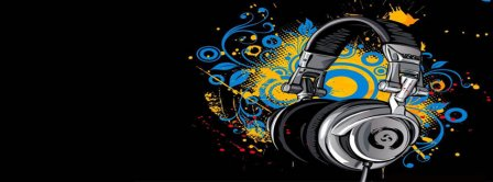 Abstract Artistic Music Headset Facebook Covers