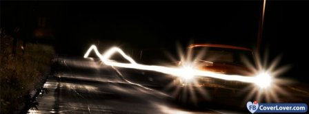 Car Lights On The Road Facebook Covers