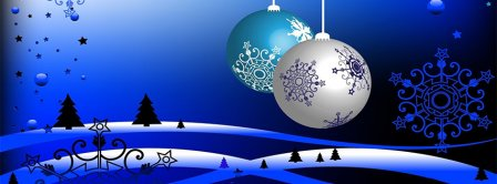 Blue Christmas Ornaments Facebook Covers