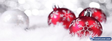 Christmas Red And White Decoration  Facebook Covers