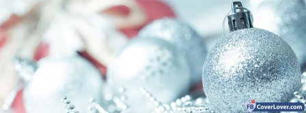 Christmas White Ornements Facebook Covers