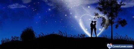 Couple Moon Light Heart  Facebook Covers