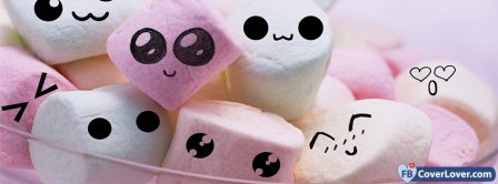 Cute Smilly Mashmallows  Facebook Covers