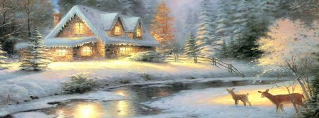 Cute Snowy House In Winter Facebook Covers