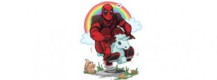 Deadpool Riding Unicorn Facebook Covers