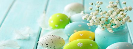 Easter Eggs Feathers And Flowers Facebook Covers