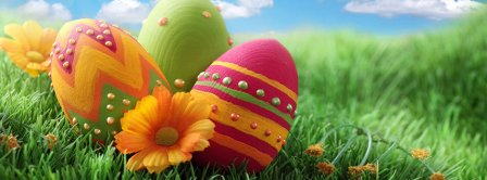 Easter Eggs In Grass Facebook Covers