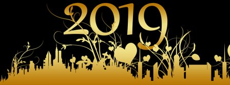 Golden Happy New Year 2019 Facebook Covers