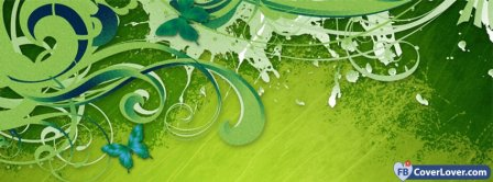 Green Butterfly Art Creative Facebook Covers