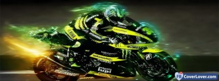 Green Motorbike Facebook Covers