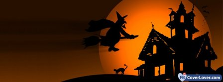 Halloween Flying Witch Facebook Covers