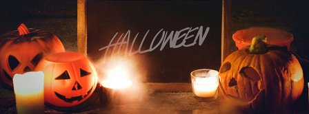 Halloween Pumpkins Candles And Blackboard Facebook Covers