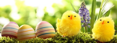 Happy Easter Cute Chickens Facebook Covers
