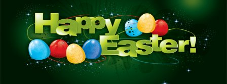 Happy Easter Sparking Green Background Facebook Covers
