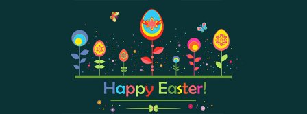 Happy Easter Flowers Eggs Facebook Covers
