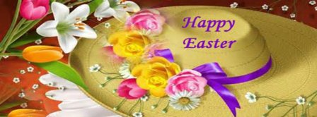 Happy Easter Flowers Hats Facebook Covers