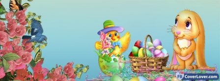 Happy Easters Bunnies Facebook Covers