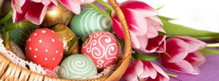 Happy Easters Painted Eggs Facebook Covers