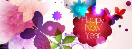 Happy New Year Abstract Flowers Facebook Covers