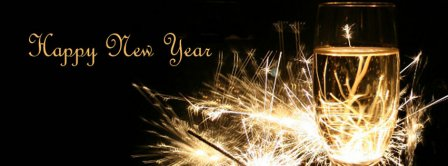 Happy New Year Sparkling Champagne Facebook Covers
