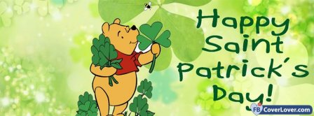 Happy Saint Patrick Winnie The Pooh Facebook Covers