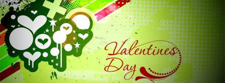 Happy Valentines Day Green Background Facebook Covers
