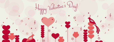 Happy Valentines Day Hearts Forest Background Facebook Covers