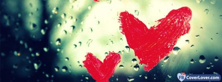 Happy Valentive Rainy Red Hearts Facebook Covers