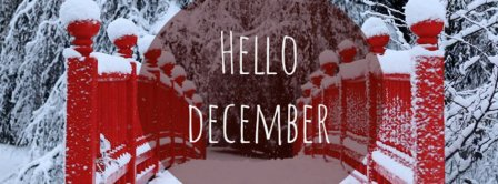 Hello December Snowy Red Bridge Facebook Covers