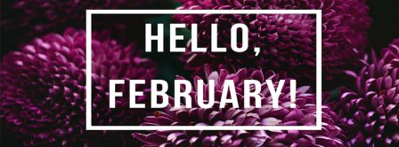 Hello February Purple Flowers Facebook Covers