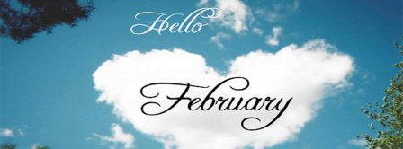 Hello February Cloud Heart-Shaped Facebook Covers